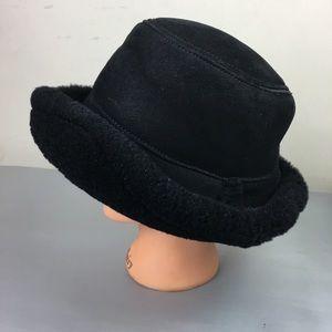 Saks 5th Avenue black leather & fur bucket hat